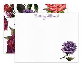 Burgundy & Purple Roses Floral Personalized Note Cards Stationery