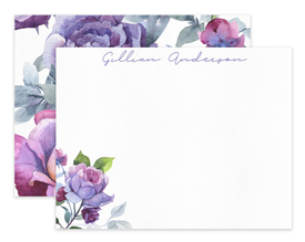 Lavender Roses Floral Flower Personalized Note Cards Stationery