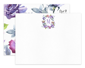 Lavender Roses Monogram Wreath Personalized Note Cards Stationery