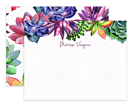 Purple Succulents Cactus Personalized Note Cards Stationery