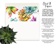 Colorful Succulents Wreath Personalized Note Cards Stationery