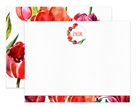 Coral & Red Tulip Wreath Floral Personalized Note Cards Stationery