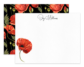Black Orange Poppy Flower Floral Personalized Note Cards Stationery