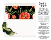 Black Orange Poppy Flower Personalized Note Cards Stationery