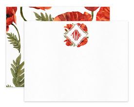 Poppy Wreath Monogram Floral Personalized Note Cards Stationery