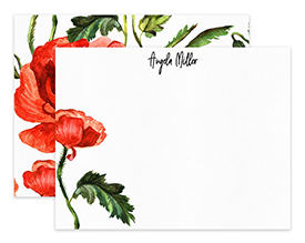 Orange Poppy Flower Floral Personalized Note Cards Stationery