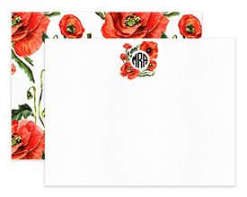 Orange Poppy Wreath Circle Monogram Personalized Note Cards Stationery