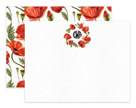 Poppy Wreath Circle Monogram Personalized Note Cards Stationery