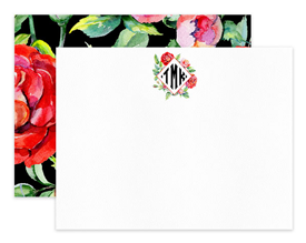 Red Roses Diamond Monogram Personalized Note Cards Stationery