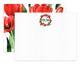 Red Tulip Wreath Flower Floral Personalized Note Cards Stationery