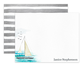 Sailboat on the Ocean Personalized Note Cards Stationery
