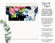 Black Spring Bouquet Border Personalized Note Cards Stationery