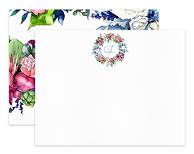 Spring Bouquet Monogram Wreath Personalized Note Cards Stationery