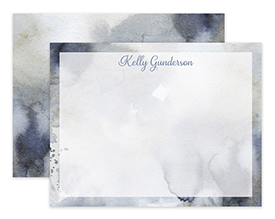 Steel Blue Abstract Watercolor Personalized Note Cards Stationery