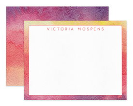 Sunset Ombre Abstract Watercolor Personalized Note Cards Stationery