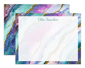 Purple & Teal Agate Watercolor Personalized Note Cards Stationery