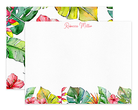 Tropical Leaves & Flowers Border Personalized Note Cards Stationery