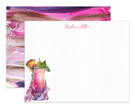 Tropical Cocktail Watercolor Personalized Note Cards Stationery