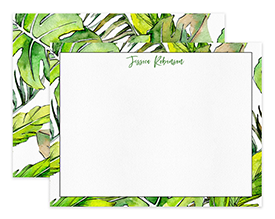 Tropical Leaves Pattern Personalized Note Cards Stationery