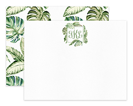 Vintage Green Tropical Monogram Personalized Note Cards Stationery