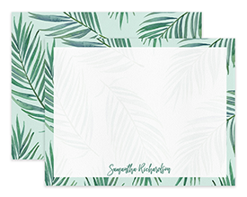 Mint Tropical Palm Leaves Personalized Note Cards Stationery