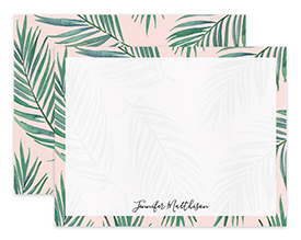 Pink Tropical Palm Leaves Personalized Note Cards Stationery