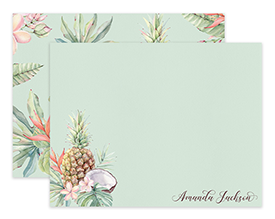 Tropical Pineapple & Coconut Personalized Note Cards Stationery
