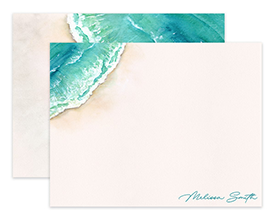 Watercolor Ocean Shoreline Personalized Note Cards Stationery