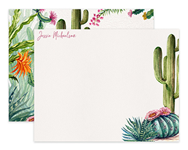 Desert Wild Cactus Watercolor Personalized Note Cards Stationery