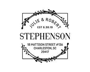 Square Wreath Wedding Custom Address Stamp