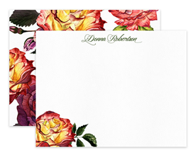 Burgundy & Yellow Roses Floral Personalized Note Cards Stationery