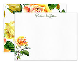 Yellow Roses Floral Flower Personalized Note Cards Stationery