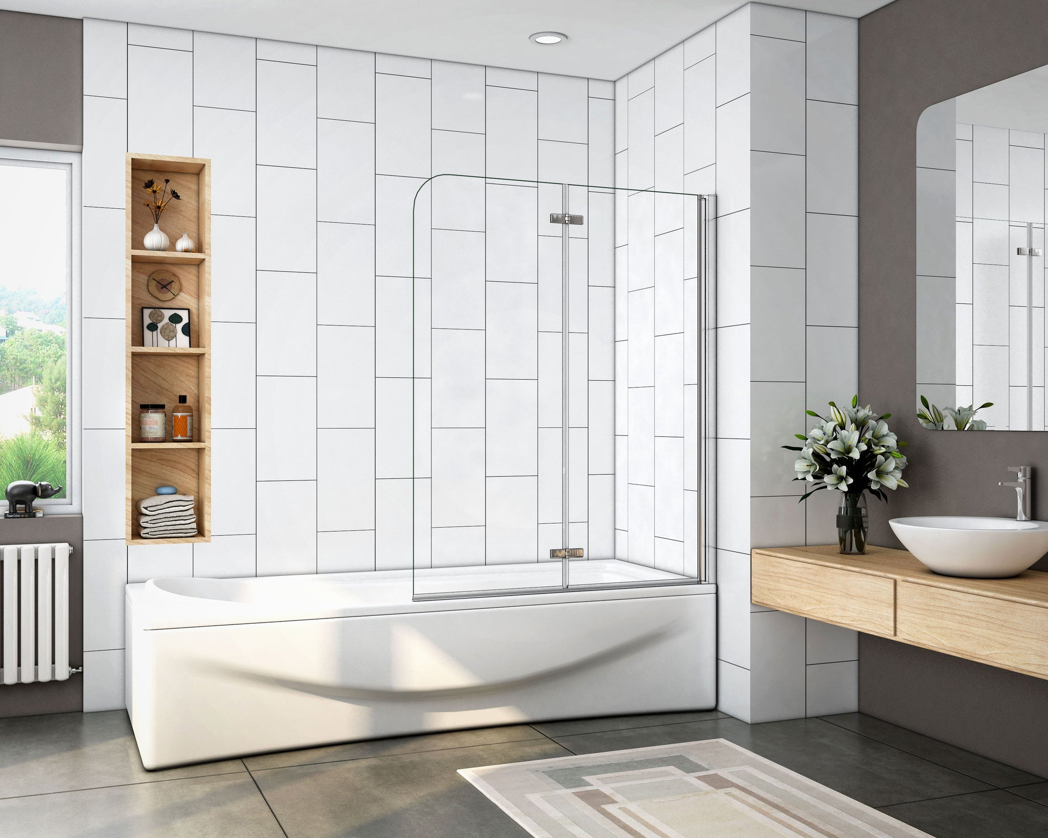Mampara de baño con Panel pivotante de 180°, Cristal Antical de 6 mm