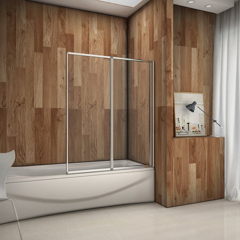 Mampara Pared Plegable de Bañera Cristal 4 mm 120x140cm