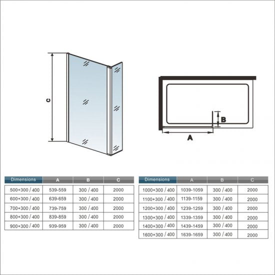 Mamparas de Ducha Panel Fijo 100 cm con Lateral Abatible, Cristal Esmerilado Antical 8mm con Barra ajustable