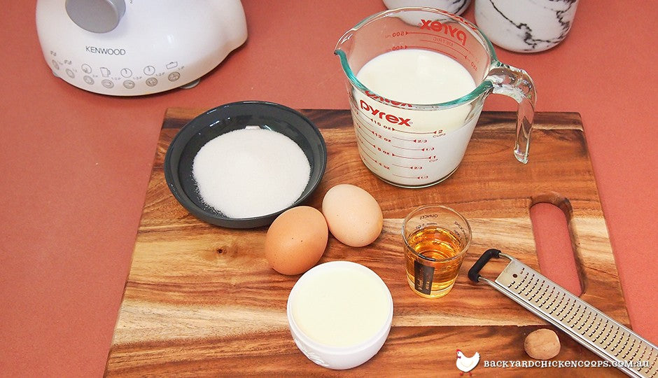 Fresh backyard egg nog ingredients