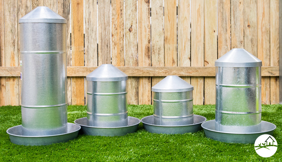 galvanised gravity fed chicken feeders