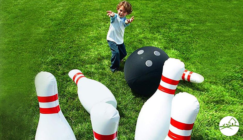 giant inflatable bowling set backyard kids gift idea
