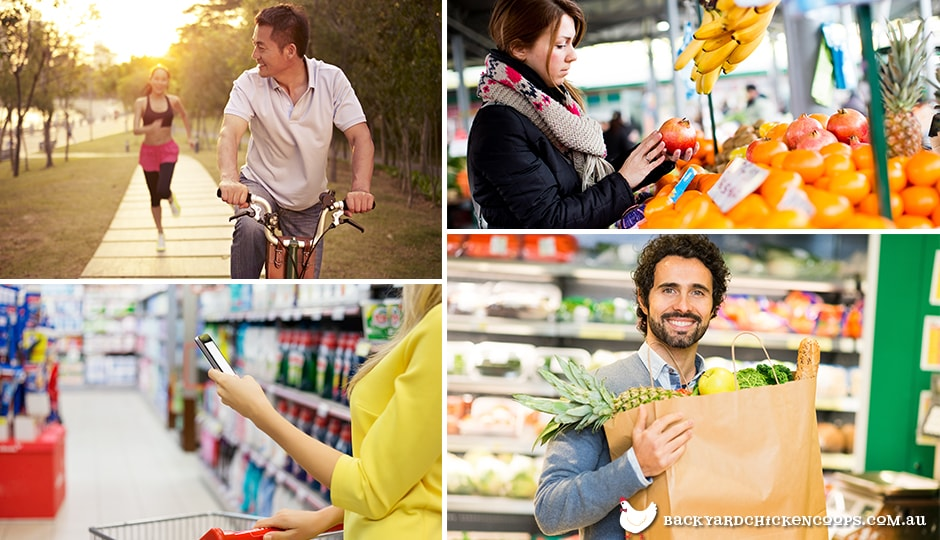 people cycling, buying locally sourced vegetables and ditching paper in order to live sustainably