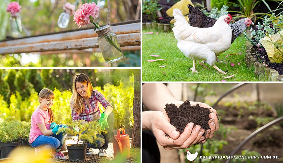 montage of people gardening and keeping chickens in order to live more sustainably