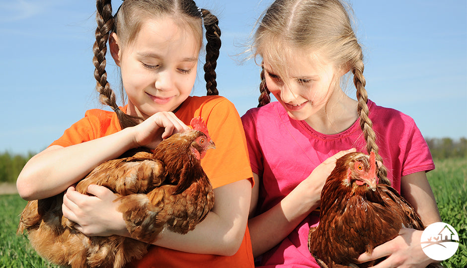school students children holding backyard chickens