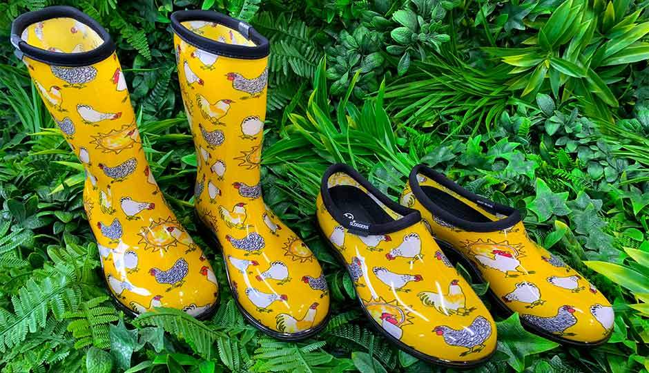 yellow chicken print gumboots and slides
