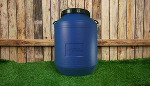 blue 60 litre storage drum for feed