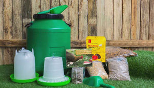 chicken starter kit includes feed, treats, storage drum and more