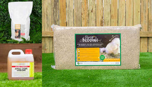 coop clean bundle including hemp bedding diatomaceous earth and apple cider vinegar