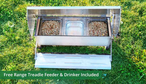 the essentials pack includes treadle chicken feeder and drinker
