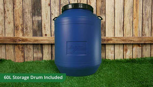 the essentials pack includes blue 60L storage drum