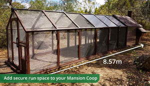 mansion chicken coop painted brown with added run extensions