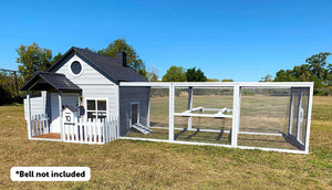 front of bed and breakfast chicken coop and run bell not included