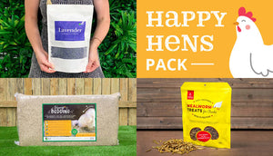 happy hens bundle pack with 200g dried lavender and chicken hemp bedding and mealworm treats